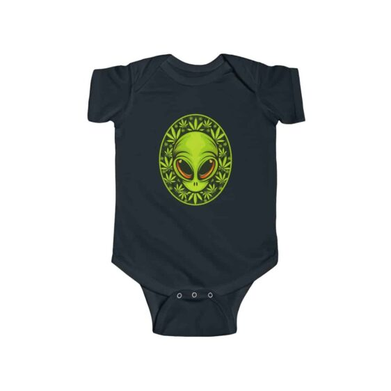 Stoned Alien Head With 420 Cannabis Leaves Cool Infant Onesie