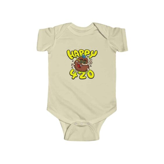 Happy 420 Stoner Cave Man Stylish Marijuana Infant Romper