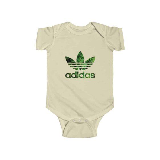 Green Leafy 420 Weed Adidas Logo Cool Marijuana Baby Onesie
