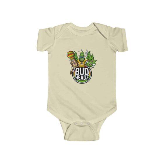 Bud Headz Trippy Rastaman and Marijuana Art Baby Romper