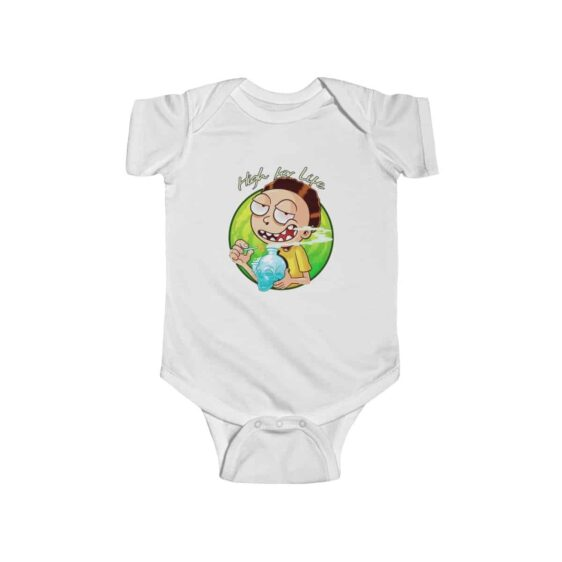 Rick and Morty High For Life Hitting Bong Weed Baby Onesie