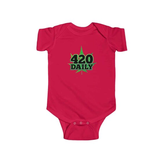 420 Daily Logo Green Marijuana Leaf Awesome Infant Romper
