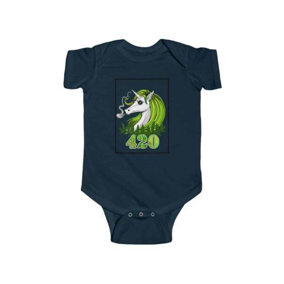 Trippy Unicorn Smoking Cannabis Blunt Dope 420 Infant Onesie