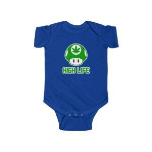 High Life Green Mario Mushroom Lovely 420 Weed Baby Romper