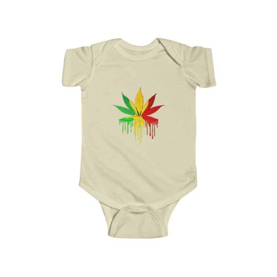 Rastafari Colored Marijuana Leaf Drip Dope 420 Baby Onesie