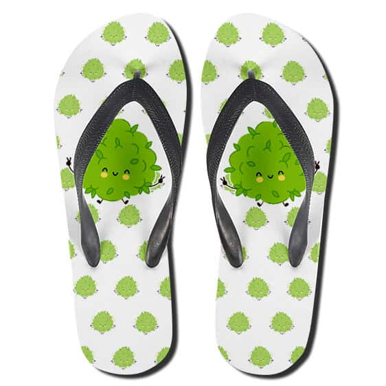 Adorable Ganja Smiling Kush Art Weed Thong Sandals