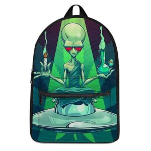 Alien Monk with Blunt and Bong Most Dopest Coolest Backpack