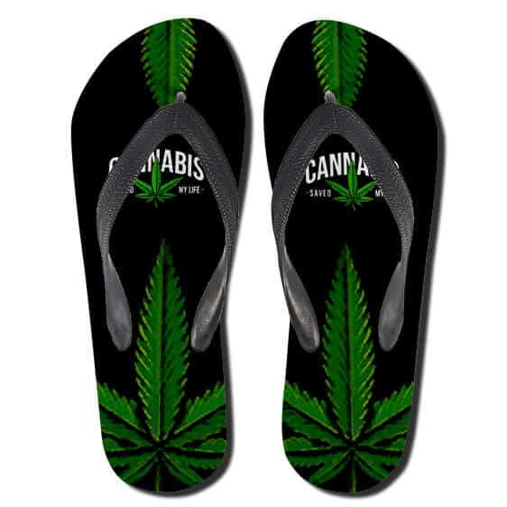 Amazing Cannabis Saved My Life 420 Flip Flops Slippers