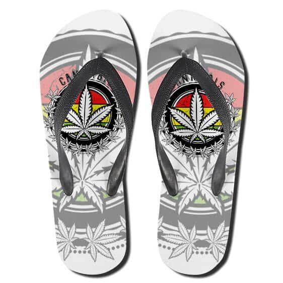 Amazing Rastafari Cannabis Logo Symbol Thong Sandals