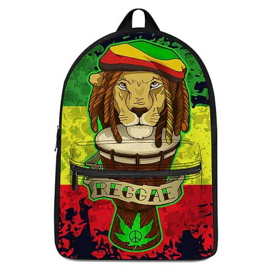 Amazing Reggae Lion Head Rastafarian Weed Backpack