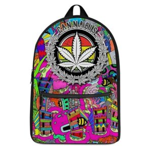 Cannabis Trippy City Doodle Vibrant Colors Dope Backpack