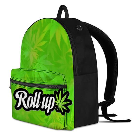 Marijuana Leaf Pattern Roll Up Neon Green Cool Backpack