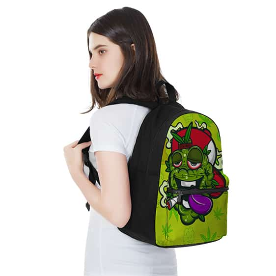 Stoned Green Monster Smoking a Hemp Joint Cool Backpack