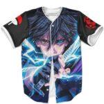 Amazing Sasuke Uchiha Powered Up Black MLB Baseball Shirt