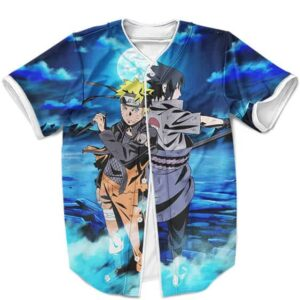 Naruto Uzumaki And Sasuke Uchiha Classic Art MLB Baseball Shirt