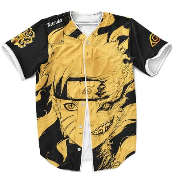 Naruto Uzumaki And Kurama Dualism Black And Yellow Baseball Uniform