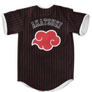 Akatsuki Team Pinstripe Pattern Red & Black MLB Baseball Shirt