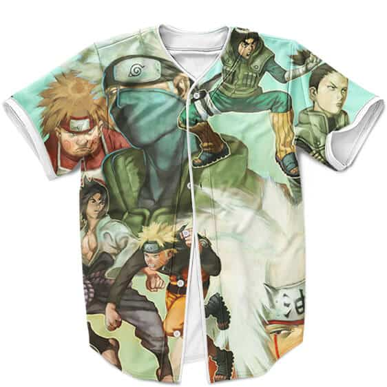 Naruto Shippuden Konoha Ninjas Poster Art Teal Baseball Shirt