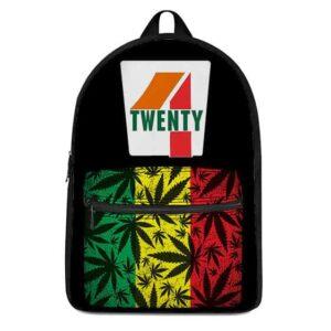 Black Four Twenty 7-Eleven Rastafarian Weed Pattern Backpack