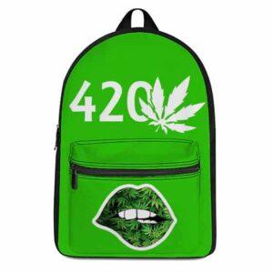Cannabis 420 Feeling High Lip Bite Awesome Weed Backpack