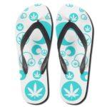 Cannabis Bubble Pattern White 420 Flip Flops Slippers