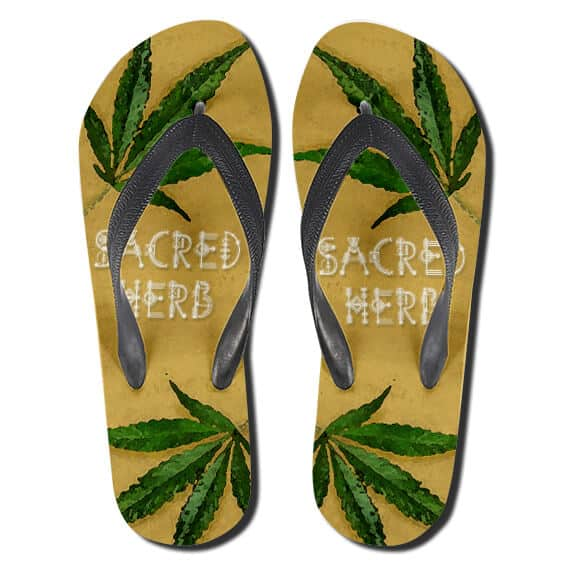 Cannabis The Sacred Herb Yellow Weed Flip Flops Sandals