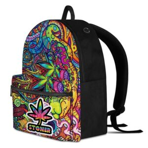 Cannabis Trippy Multicolor Abstract Art 420 Backpack Bag