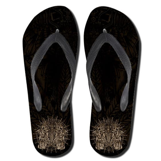 Cannabis Witchcraft Symbol Black Weed Thong Sandals