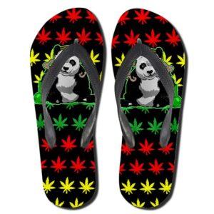Chill Panda Smoking Weed Rastafarian Flip Flops Slippers