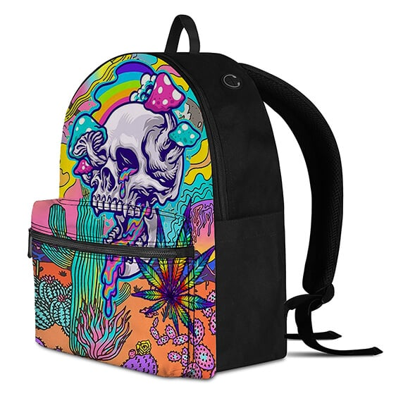 Colorful Weed with Trippy Shroom Skull Cool Funky Backpack