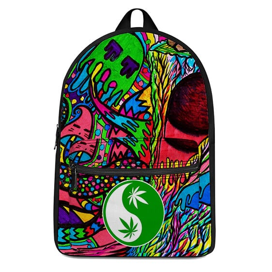 Colorful and Trippy Weed Yinyang Symbol Amazing Backpack