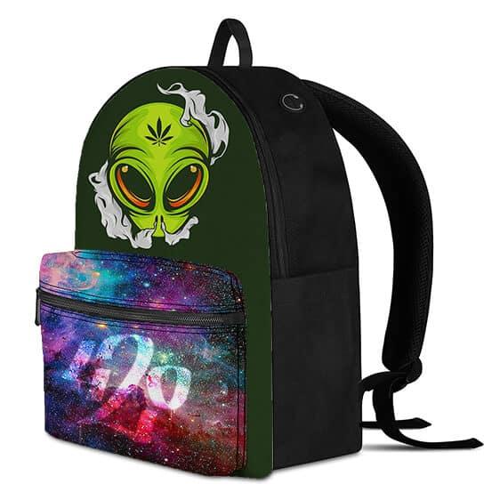 Cool Alien Smoking Weed Galaxy Design 420 Knapsack