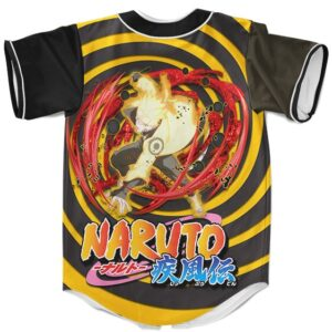 Cool Black Swirl Baseball Jersey Uzumaki Naruto Kurama Mode