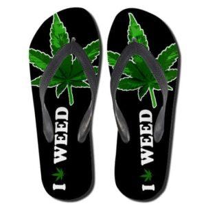 Cool I Love Weed Minimalist Black Flip Flops Sandals