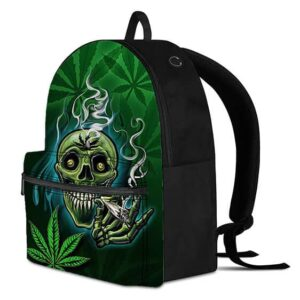 Creepy High Skull Smoking a Joint Dope Cannabis Knapsack