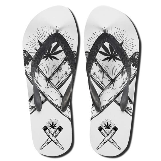 Cross Joint Symbol Marijuana Monochrome 420 Slippers