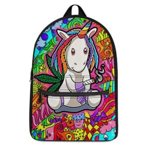 Cute Unicorn Smoking Blunt with Marijuana Most Cool Backpack