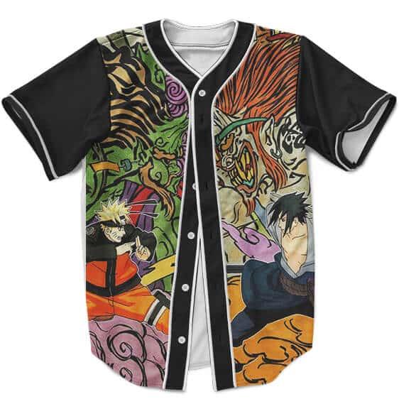 Dope Baseball Jersey Fight Eternal Rivals Naruto and Sasuke