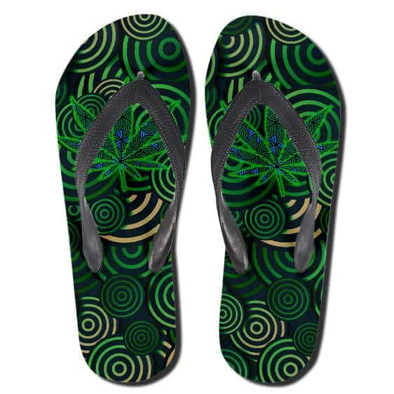 Dope Cannabis Hypnotic Spiral Pattern Green Slippers