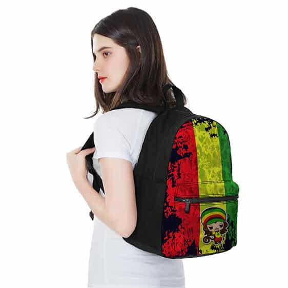 Dope Chibi Reggae Monkey Rastafarian Colours Weed Backpack