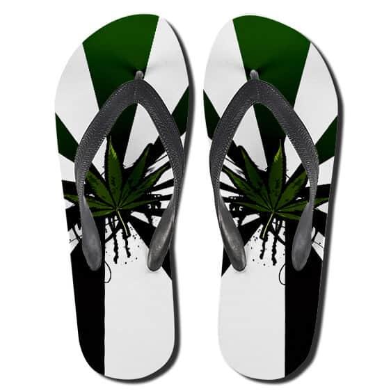 Dope Ganja Hemp Leaves Cannabis Flip Flops Sandals