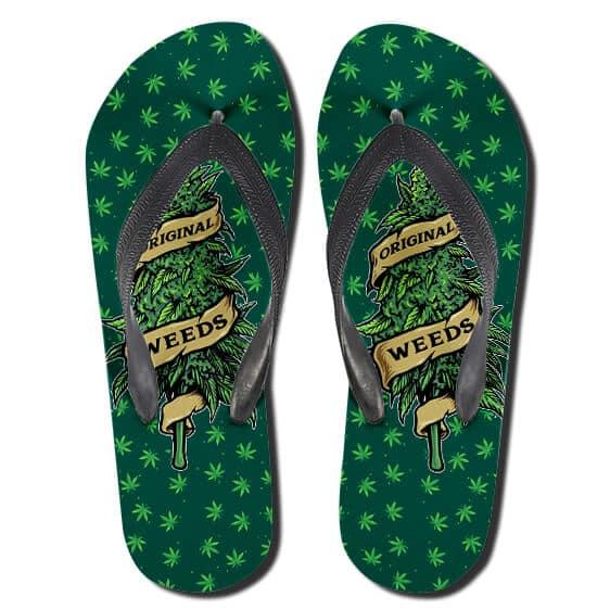 Dope Original Weeds Tree Green 420 Flip Flops Sandals