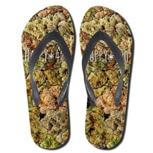 Epic Marijuana Kush Pattern Happy 420 Flip Flops Sandals