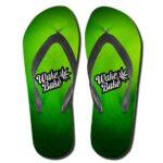 Wake and Bake Marijuana Cannabis Leaf Neon Green Flip Flops