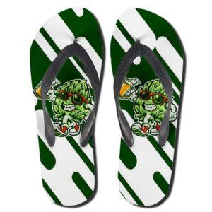 Cool 420 Marijuana Bud Holding a Beer Pint Flip Flop Slippers