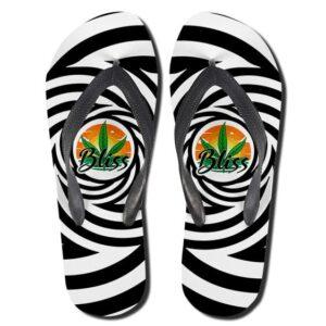 Marijuana Leaf Bliss Black And White Awesome Thong Sandals