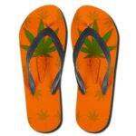 Cannabis Leaf Carrot Strain Design Orange Flip Flops