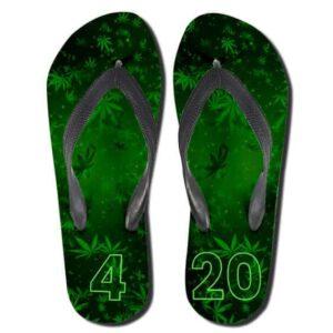 Amazing 420 Marijuana Vibrant Green Flip Flops Slippers