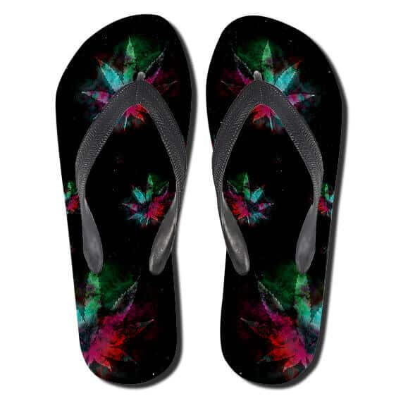 Cannabis Herb Multicolor Leaves Art Black Thong Slippers