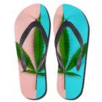 Dope Cannabis Hybrid Strain Leaf Minimalist Flip Flops